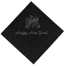 """25 """"Happy New Years"""" Black Beverage Cocktail Napkins In Silver - $5.93"""