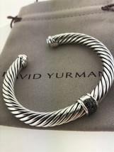 David Yurman Sterling Silver 7mm Pave Black Diamond Cable Cuff Bracelet - $375.21