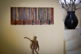colourfull coat rack from reclaimed wood. - $85.97