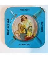 1950s Kelly's Nite Club Art Frahm Heat Wave Pinup Girl Tin Litho Ashtray - $9.99