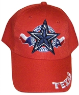 Texas Star & Circle Men's Adjustable Curved Brim Baseball Cap Hat RED - $8.95