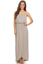Navy Striped Maxi Dress, Cinched Blouse Waist, Faux Wrap Skirt Navy Beig... - $62.99
