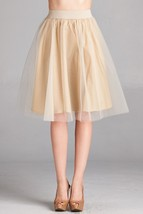 Champagne A-Line Tulle Skirt, Tulle Ballerina Skirt, Feminine Chic, Taupe