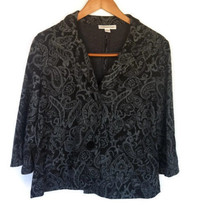 Coldwater Creek Womens Sz 8 Jacket Blazer Paisley Black Silver Flared Sl... - $17.81