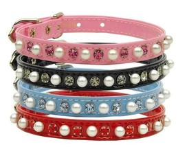 Dog Collar Pearl and Crystal Patent Fancy Pink Black Red or Blue Pet Col... - €12,41 EUR