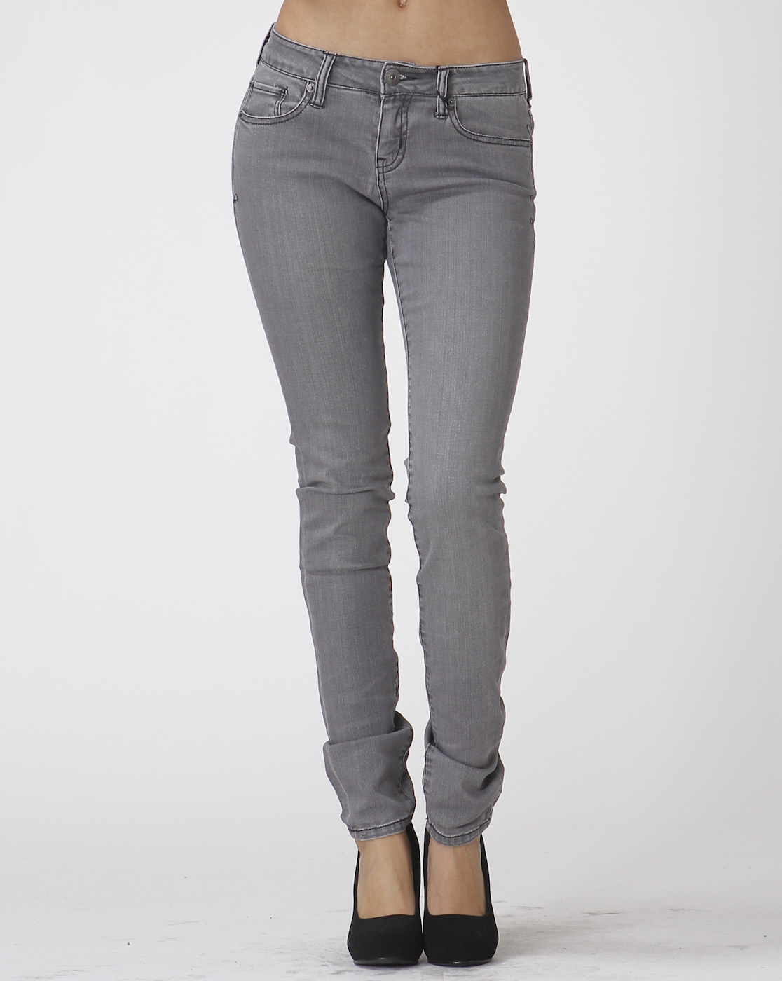 Grey Denim Stretch Skinny Jeans, Gray Stretch Skinny Jeans, Scarlet Boulevard