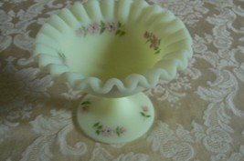 Vintage Fenton Yellow Vaseline Small Pedestal Candy Dish Marked D. Frede... - $34.64