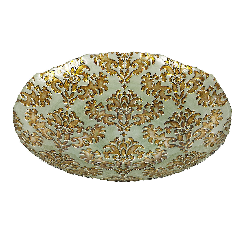 Damask Large Glass Centerpiece Bowl