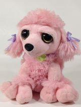 Petting Zoo PINK POODLE Plush Big Bright Eyes Puppy Dog Purple Bow Green... - $10.00