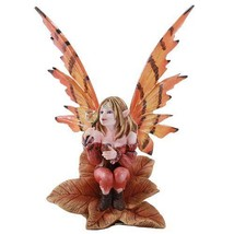 Autumn Fairy Sitting on Leaf Blowing Bubble Statue Ada de Otonio - $25.00