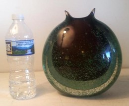 Mid Mod Style Round Murano Green Speckled Amethyst Layered Heavy Glass Art Vase