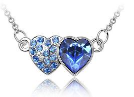 USA Fashion Women Silver Double Heart Chain Crystal Rhinestone Necklace ... - $9.99