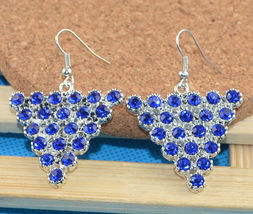 TRIANGULAR BLUE RHINESTONE DANGLE EARRINGS   (COMBINED SHIPPING) (625) - $2.99