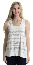 NWT S Karen By Karen Kane White Sleeveless Tank Top W/ Metallic Tribal P... - $47.52