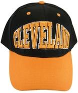 Cleveland Men's Adjustable Curved Brim 2-Tone Baseball Cap Hat Black/Orange - $9.95