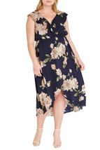 Navy Ruffled V Neck Floral Midi Dress Plus Size. Only $69.00 ! - $69.00