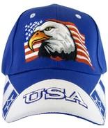 USA American Flag & Bald Eagle Patriotic Men's Adjustable Baseball Cap H... - $12.95