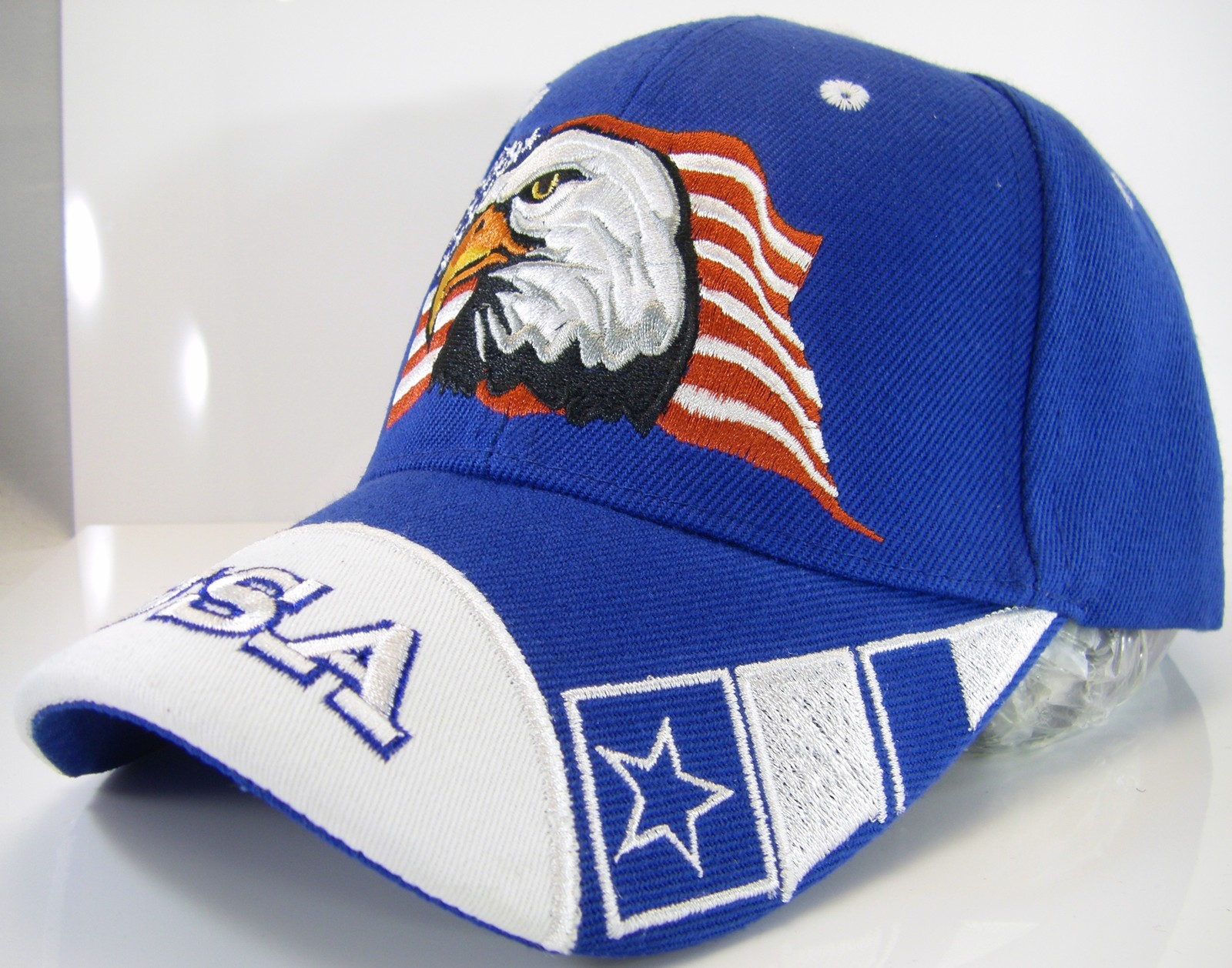 43d23bbedd101 USA American Flag   Bald Eagle Patriotic Men s Adjustable Baseball Cap Hat  ROYAL