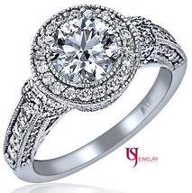 2 10 Carat E VS1 Round Natural Diamond Engagement Millgrain Edged Halo R... - €7.742,61 EUR