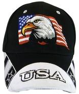 USA American Flag & Bald Eagle Patriotic Men's Adjustable Baseball Cap H... - $12.30