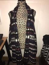 NWT ANN TAYLOR Loft Chunky Tribal Knit Sleeveless Hi Low Open Vest Sz XS... - $43.00