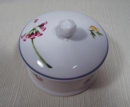 Wedgwood Ophelia Bone China Round Trinket Box with Lid Blue Trim - $39.99