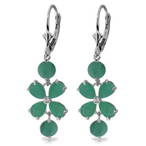 5.32 Carat 14K Solid White Gold Chandelier Earrings Natural Emerald - $420.92