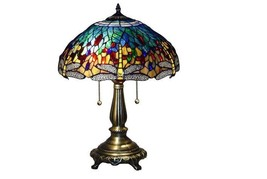 Handcrafted Tiffany Stained Glass Accent Table Lamp Decorative Dragonfly... - $73.52