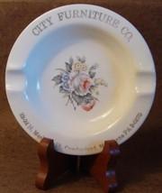 Vintage Cumberland MD City Furniture Co Ashtray Salem China Floral 23 K Gold