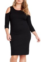 Black Cold Shoulder Midi Dress Plus Size - $69.00