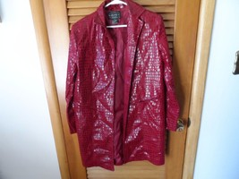 Ladies cranberry croc pint trench coat size 12 by Selene Sport - $18.00