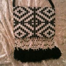 NEW Fringe Beaded Purse Bag Tassels Black White... - $10.88