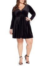 Black Velvet Deep V Neck Bodycon Dress Plus Size - $69.00