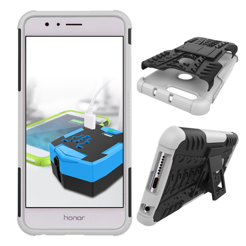 Armor Shockproof Hybrid Kickstand Protective Case for Huawei Honor 8 - White