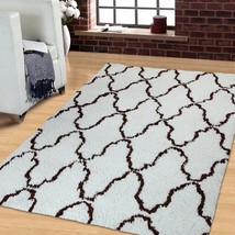 5' X 8' Ivory & Chocolate Trellis Pattern Hand Woven And Soft Shag Area ... - $122.95