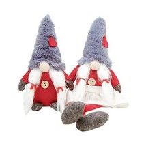 Galilery 2pcs Grey Christmas Gnome,Scandinavian Tomte Stuffed Handmade S... - $17.30