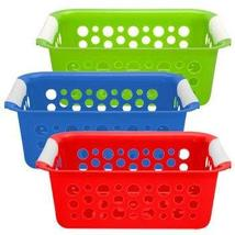(3 Pack) Brightly-Colored Plastic Slotted Baskets - $7.60