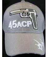 45 ACP Handgun Firearm Gun Men's Adjustable Curved Brim Baseball Cap GRAY - $8.95
