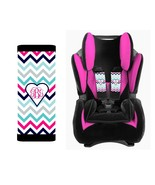 MONOGRAMMED BABY TODDLER CAR SEAT STRAP COVERS PINK NAVY CHEVRON HEART - $14.68