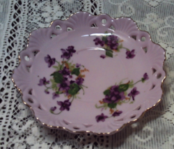 Vintage SAJI Japanese pink reticulated china saucer Cottage/Shabby Chic - $11.25