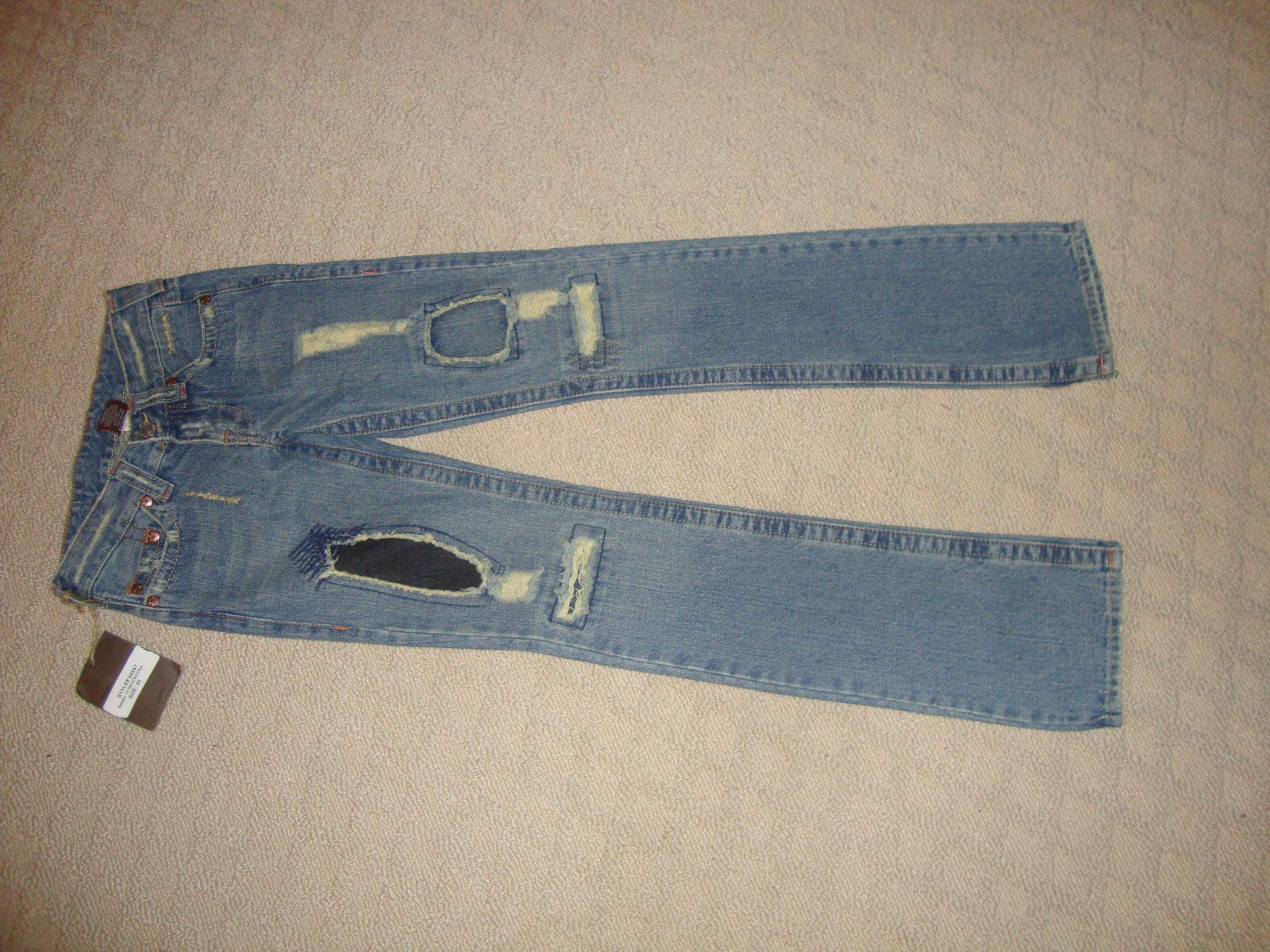 """CRAZY COOL, SUPER RARE $317 """"DESTROYED"""" TRUE RELIGION JEANS (NWT) SIZE 25 - $156.75"""