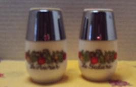 Vintage Gemco Milk Glass Spice of Life Design Salt & Pepper Shaker Set - $11.50