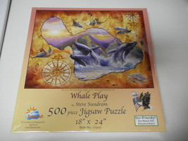 SunsOut Puzzle Whale Play Steve Sundram 500 Piece New & Sealed  - $19.79