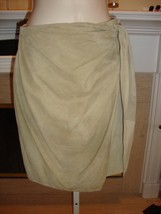 Gorgeous, Rare, New $2,995 Donna Karan Olive Suede Faux Wrap Skirt - $808.65