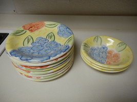 Bella Ceramica Set of 8 Dinner Plates & 3 Bowls Yellow With Blue Orange ... - $89.09