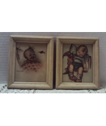 Set of Two Small Hummel Prints in Wood Frames Shabby Chic Nursery Decor - $14.00