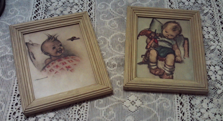 Set of Two Small Hummel Prints in Wood Frames Shabby Chic Nursery Decor