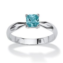 Birthstone .925 Solitaire Stack Ring-December-Simulated Blue Topaz - $15.00