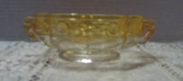 Vintage Jeanette Glass Aztec Rose Yellow Flashed Handled Candy Bowl Dish - $15.50