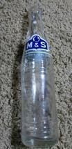 Vintage M&S Snowflake Clear Glass Water Bottle 10 fl. ozs  - $9.08